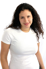 young woman wearing a plus-size shirt