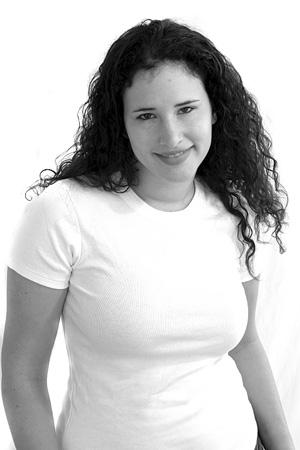 young woman wearing a plus-size shirt