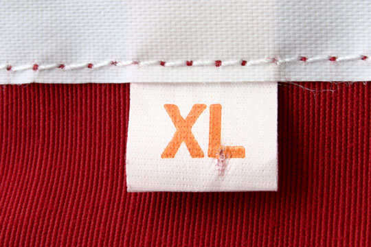 size xl clothing label